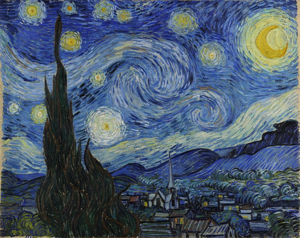 van gogh starry night with martboard and picture frame