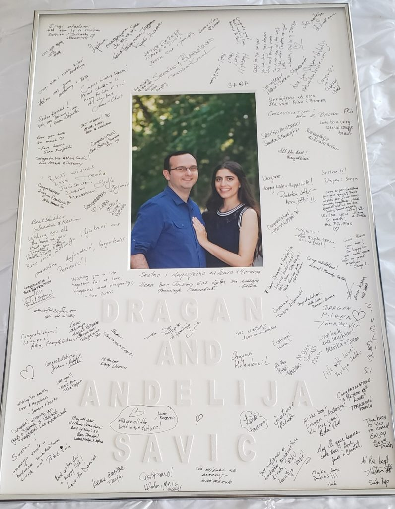 Signature Matboard for Wedding by Matboard and More, Silver Frame and White Mat