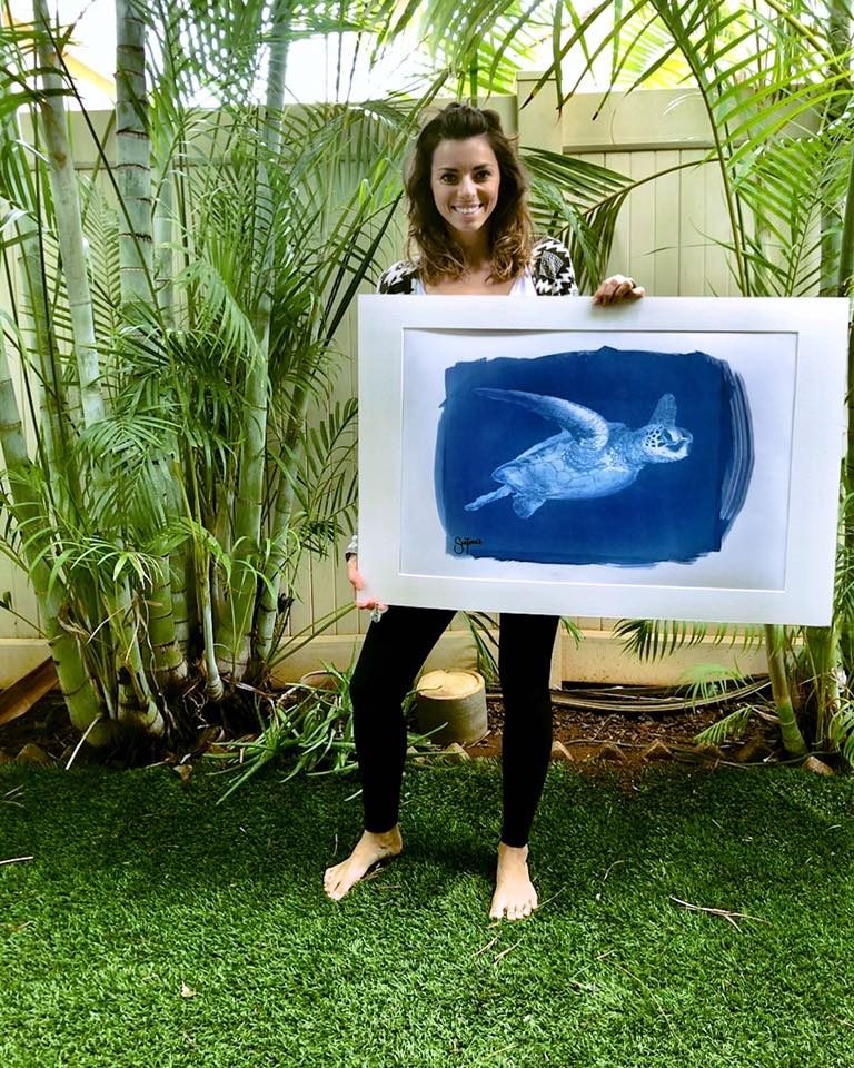 This gorgeous piece of matted and framed artwork of a blue turtle