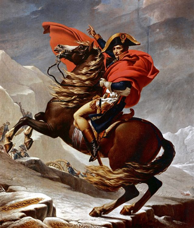 An epic oil painting of Napoleon crossing the mountains in the winter