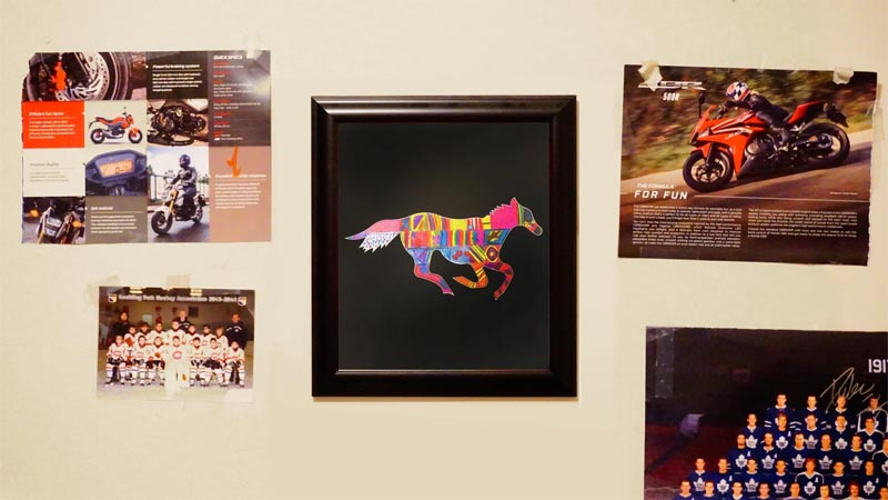 custom matboard with horse shape