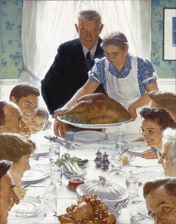 A color piece of art by Norman Rockwell