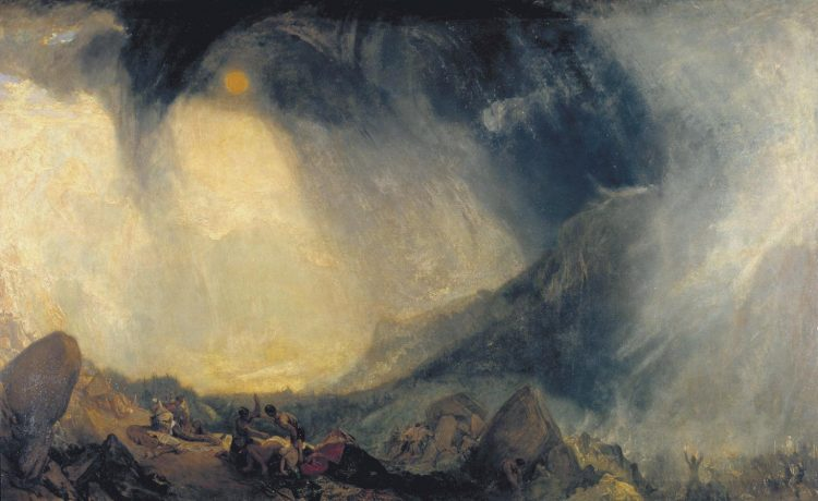 An abstract painting showing a looming shadow against the sun while Hannibal crosses the Alps