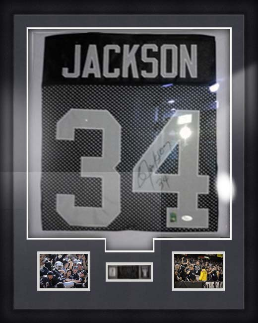 reggie jackson football jersey in matboard and frame