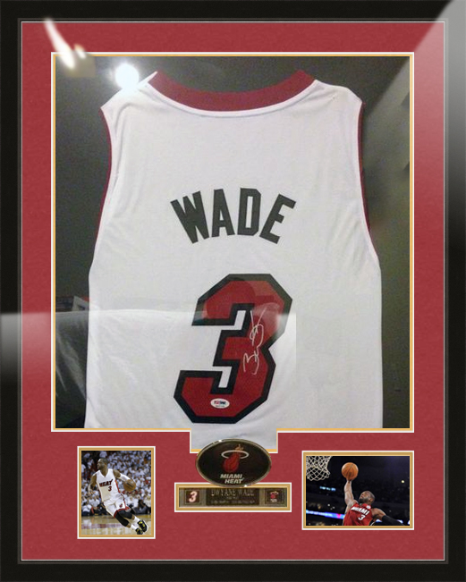 Dwayne Wade Basketball Jersey Matboard and Frame by Nici