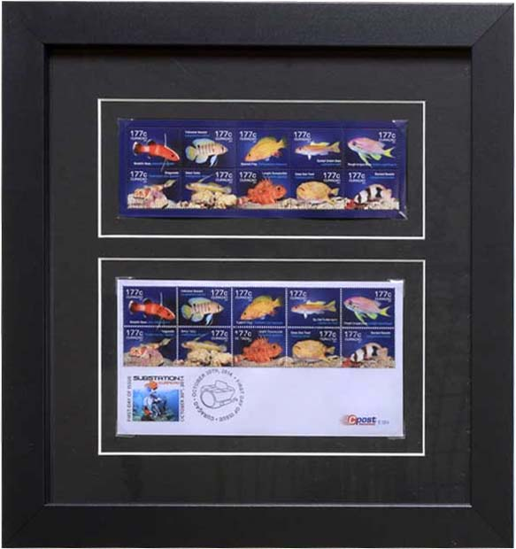 stamps in a matboard and frame