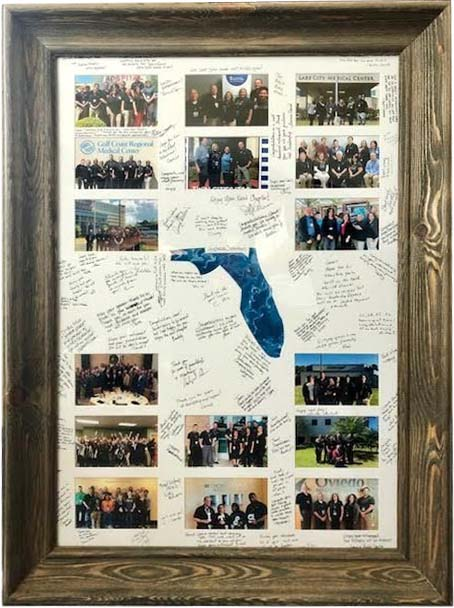 retirement signature matboard with multiple openings