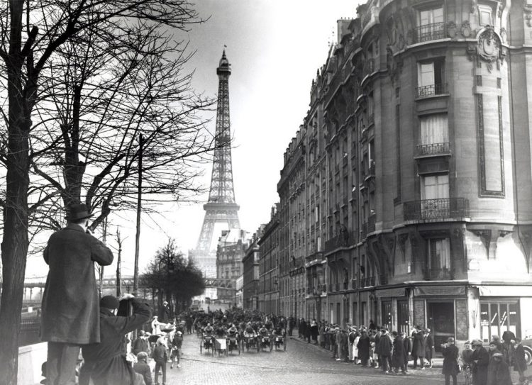 A black and white photo of Paris