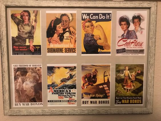 A custom matboard and frame displaying several classic histortical postcards