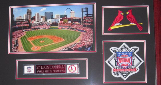 st louis cardinals picture matboard with frame commemorating world series
