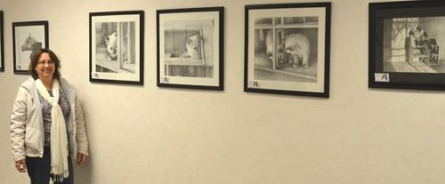 Carol F with her Art Gallery Wall Display