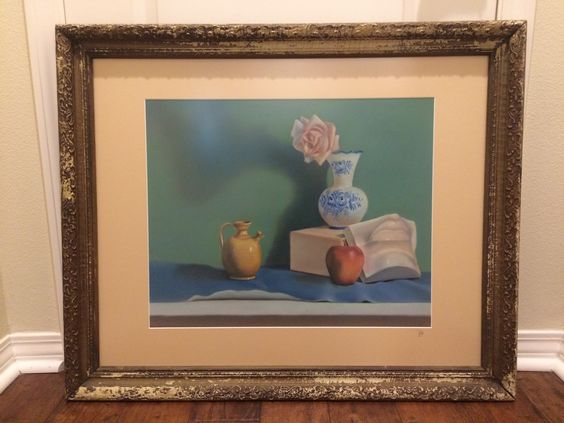 A still life painting framed with a special custom matboard