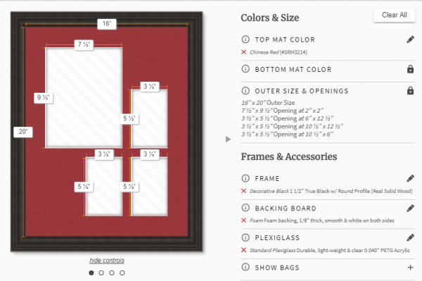 custom matboard and frame builder for multiple opening designs