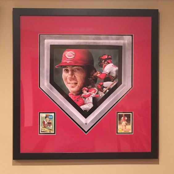 A custom baseball matboard with photos