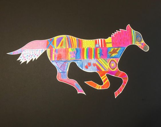 custom matboard cut out in the shape of a horse