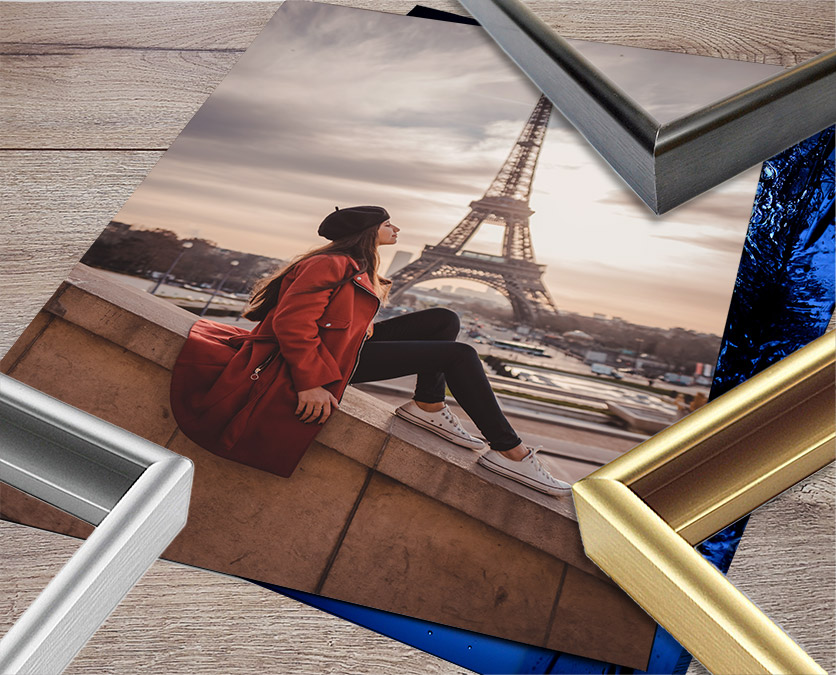 metal picture frames in black, gold and silver