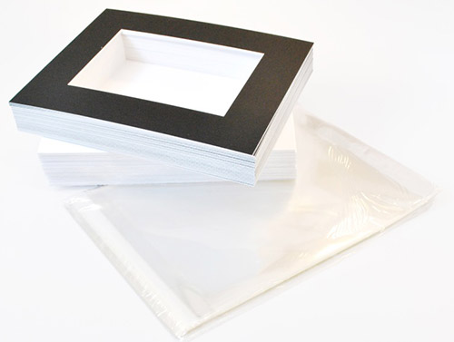 show kit packages include matboard, backing board and bags in standard sizes