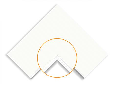 white matboard with white core matboard